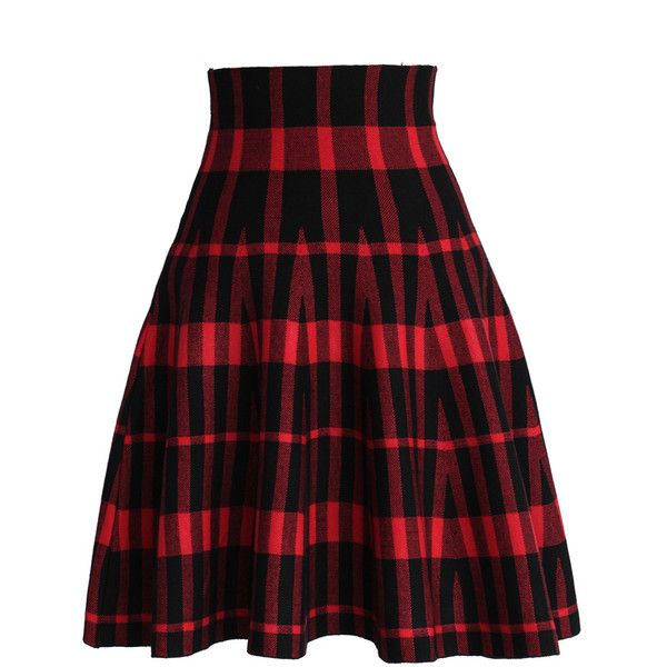 Chicwish High Rise Striped Knitted Skater Skirt (€40) ❤ liked on Polyvore featuring skirts, bottoms, red, flared skater skirt, high-waisted skater skirts, red circle skirt, circle skirt and high waisted skater skirt