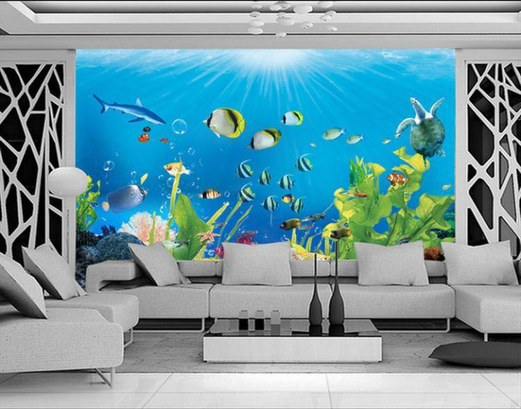 Free Shipping custom living room children room aquarium mural 3D ...