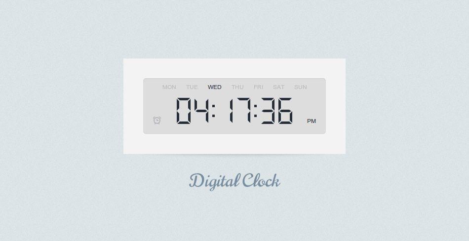 Flat digital clock
