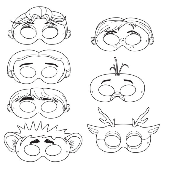 Frozen Mask Coloring Pages : Frozen inspired printable character black and white masks