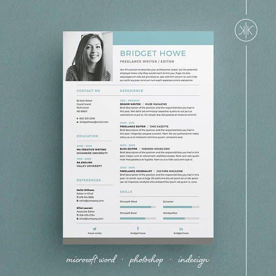 Bridget ResumeCV Template Word Photoshop InDesign Professional Resume Design Cover