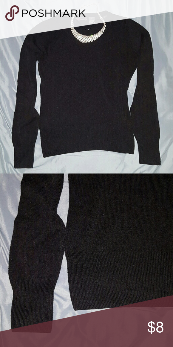 💟 Donated 💟 Black Sweater Scoop neck, long sleeve, black sweater. A bit of pilling. (Necklace sold separately). Joyce Leslie Tops