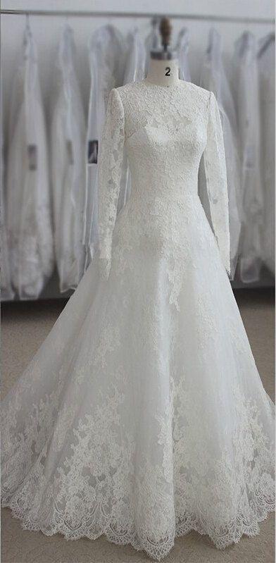 Real Sample Muslim Long Sleeve Wedding Dresses Lace Appliques Customize White Ivory Bridal Dress Appliques Sweep Train Dantel Gelinlik Gelin Elbisesi Gelinlik