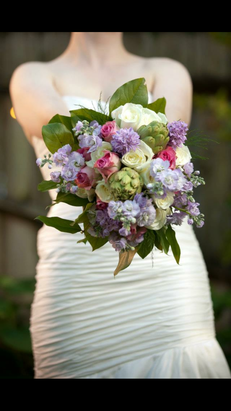 Bridal bouquet purple hyacinth pink and cream roses and