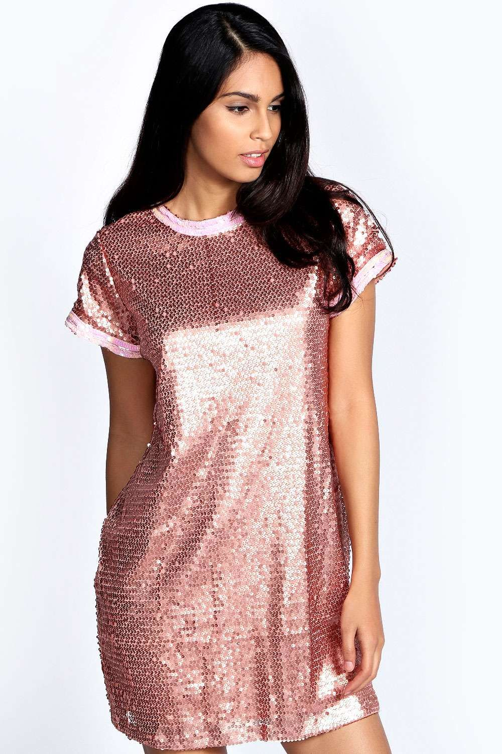 Fiona Woven Sequin T-shirt Dress alternative image  clothes ...