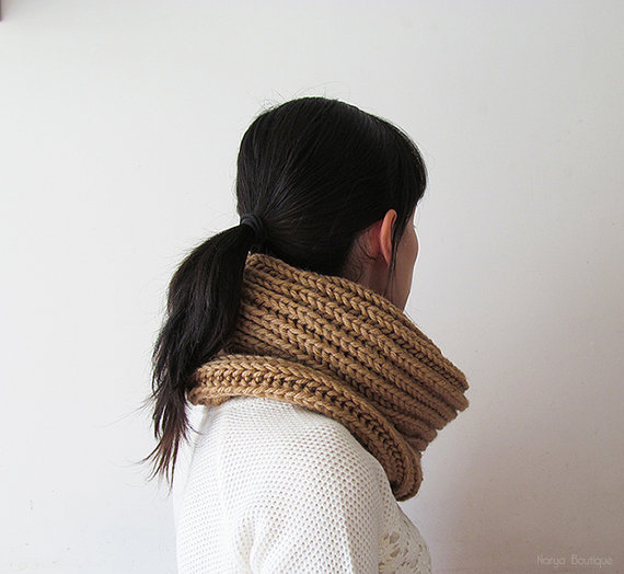SALE Ready to Ship  Hand Knitted Cowl in Camel  by naryaboutique