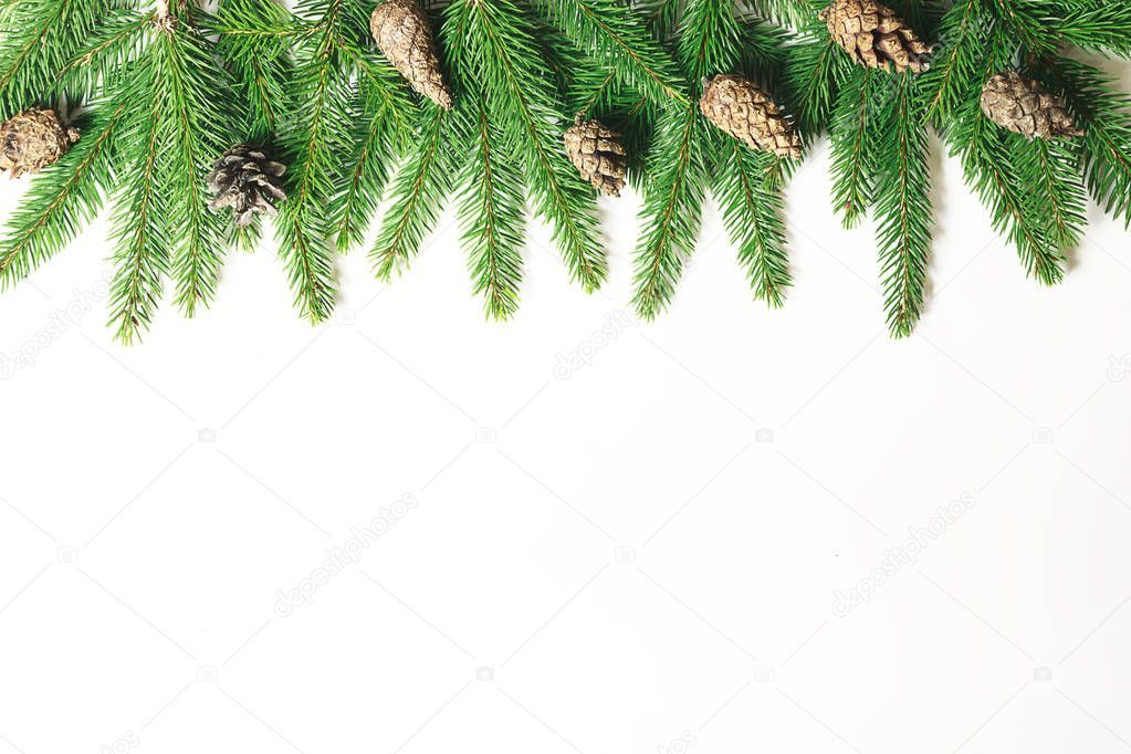 Christmas Composition Christmas Tree Branch Pine Cones Fir Branches On White Sponsored Tree Bran In 2020 Christmas Tree Branches Tree Branches Christmas Tree