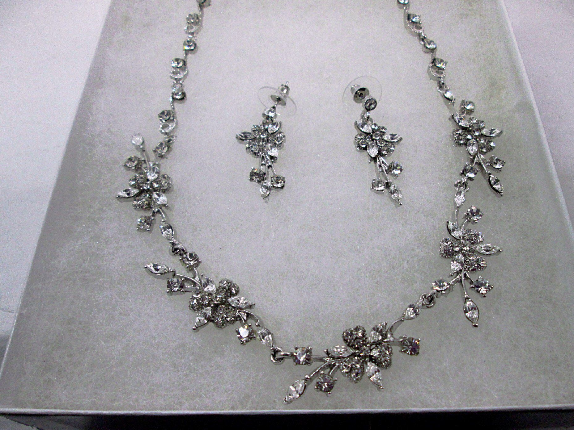 3d4a8817b602d Bridal Crystal Flower Vine Jewelry Set Silver Crystal Vine Necklace ...