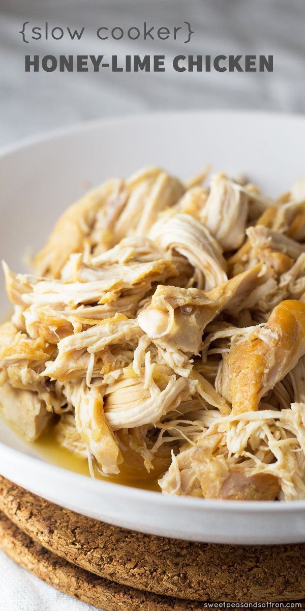 Slow Cooker Honey Lime Shredded Chicken | Sweet Peas & Saffron