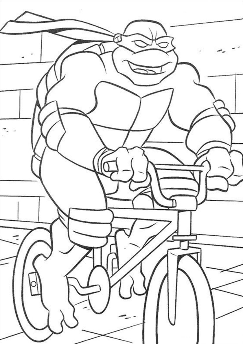 Trip By Bicycle In 2020 Ninja Turtle Coloring Pages Turtle