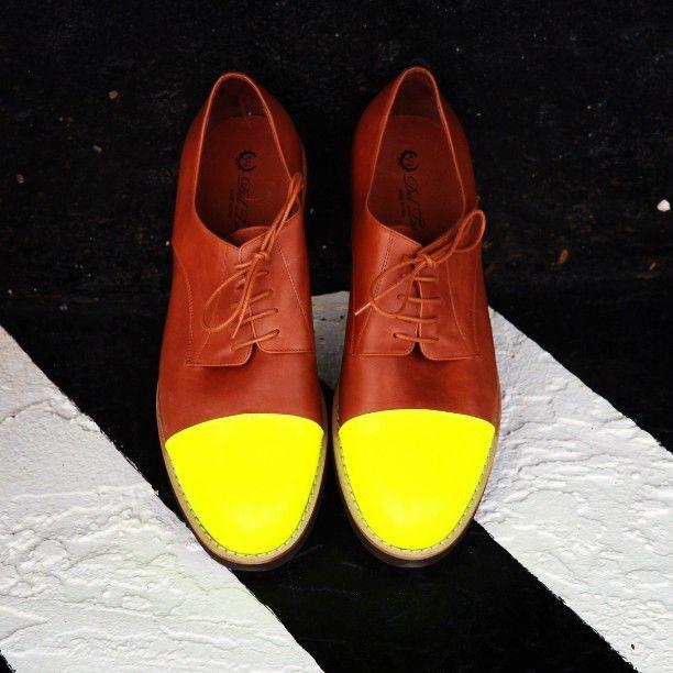 "@deltoroshoes's photo: ""Neon cap toe oxfords restocked #deltoro"""