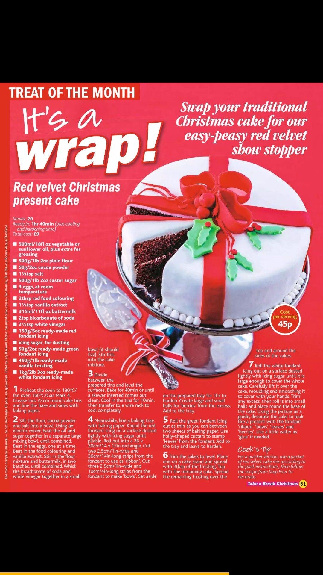Red Velvet Christmas Cake Christmas Recipes In 2018 Pinterest