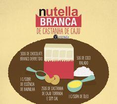 Receita ilustrada de Nutella Branca de castanha de caju. Você precisa de poucos ingredientes e é bem rápida de fazer. Ingredientes: Chocolate branco, Castanha de caju, coco ralado, óleo e essência de baunilha