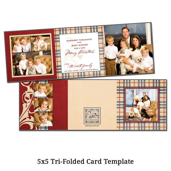 5x5 Tri Fold Christmas Card Template Holiday Card Etsy Holiday Card Template Christmas Card Template Tri Fold Cards