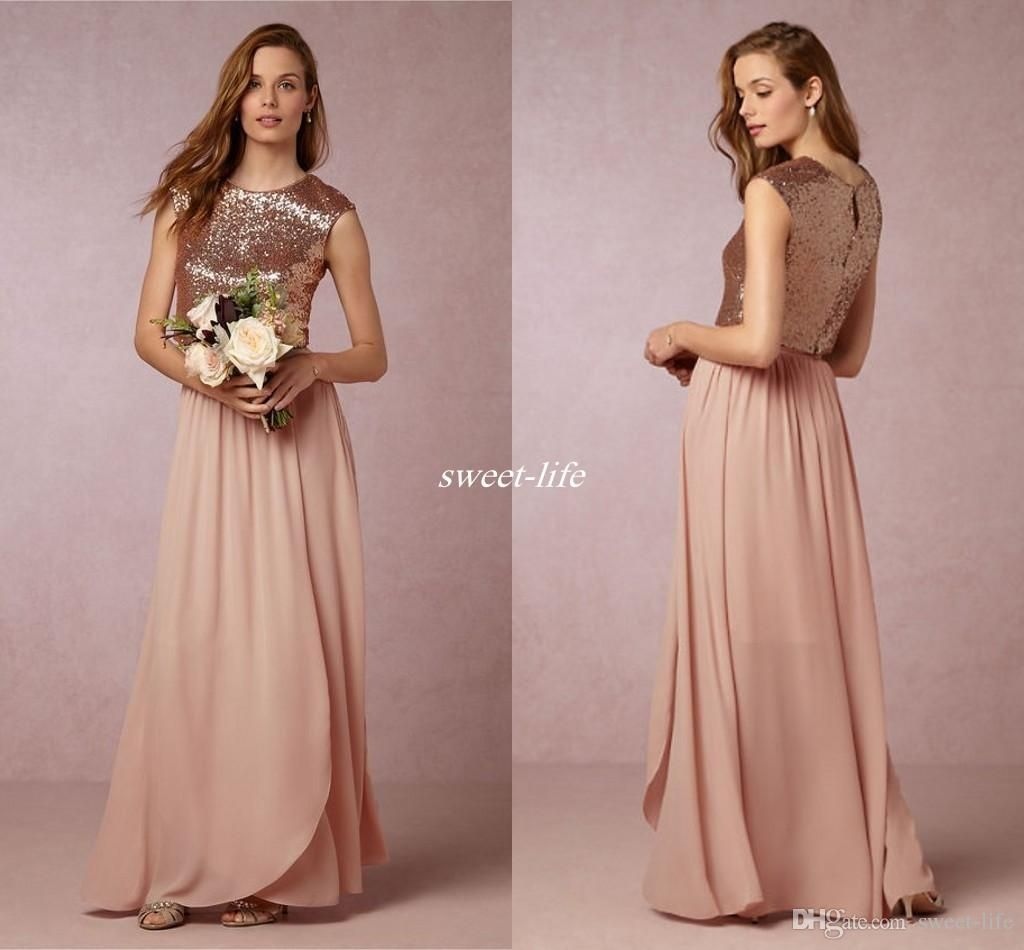 Sparkly blush sequined two pieces bridesmaid dresses bhldn jewel sparkly blush sequined two pieces bridesmaid dresses bhldn jewel neckline cheap 2017 wedding guest dress floor length chiffon formal gowns ombrellifo Gallery