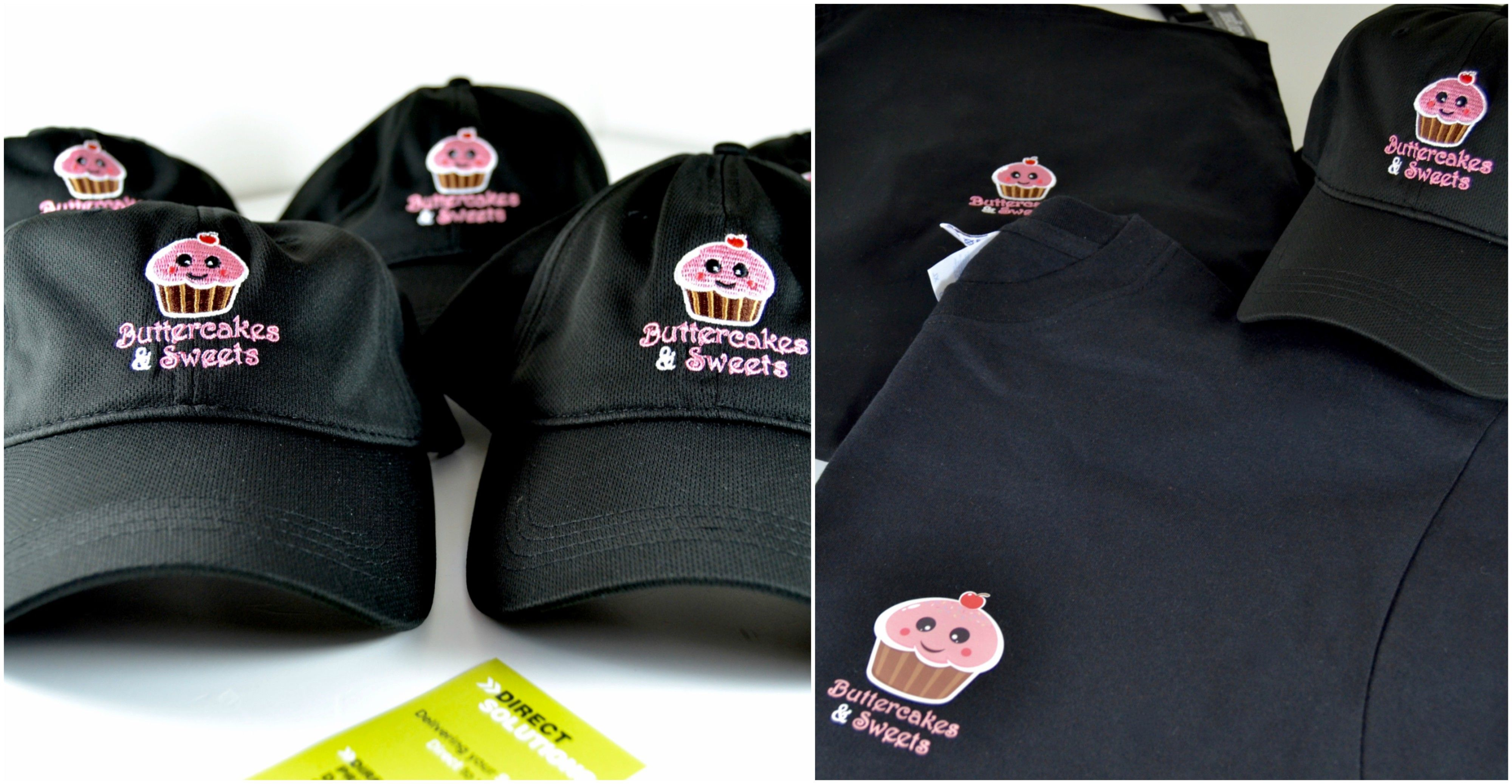 258b24ba4 New uniform for Butter cakes and sweets -- embroidered logo on hats ...