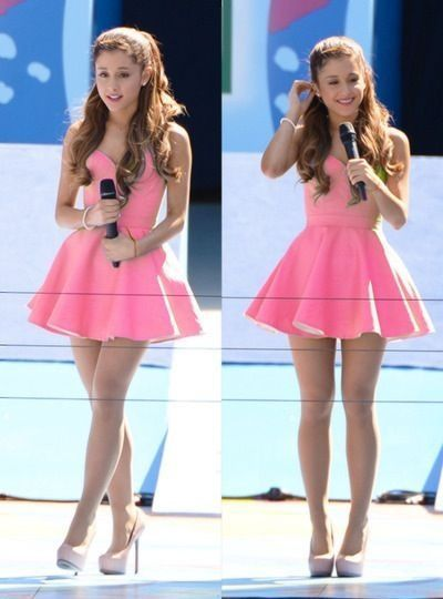 314dc3b25f36 Pink strapless skater dress- Ariana Grande