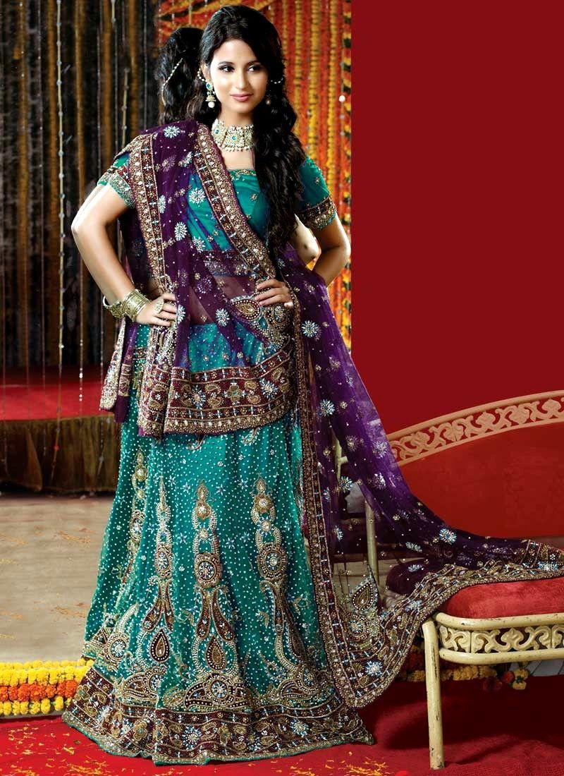 3 Purple And Sea Green Indian Traditional Bridal Desi Wedding DressesWedding