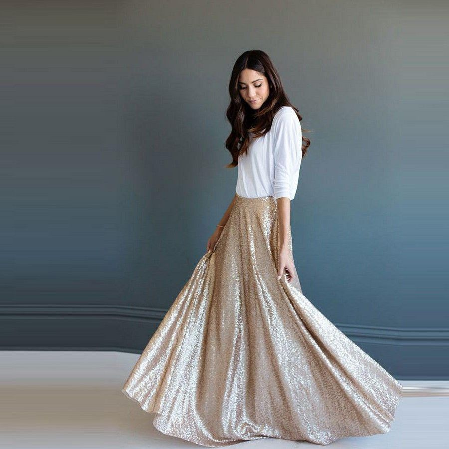 4afc5ac6f63 Elegant Dazzling Sequins Lace Long Skirts For Women A-line Floor Length  Skirt Fashion Custom Made High End Clothing