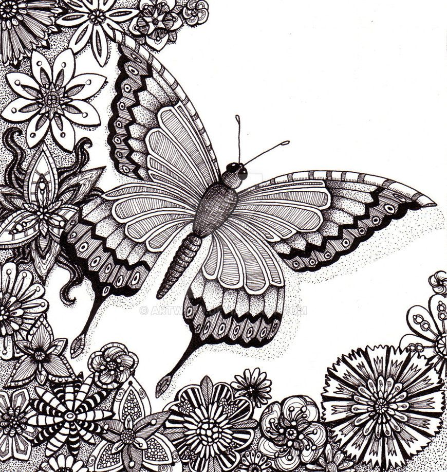 butterfly flower coloring pages colouring adult detailed advanced printable - Advanced Coloring Pages Butterfly