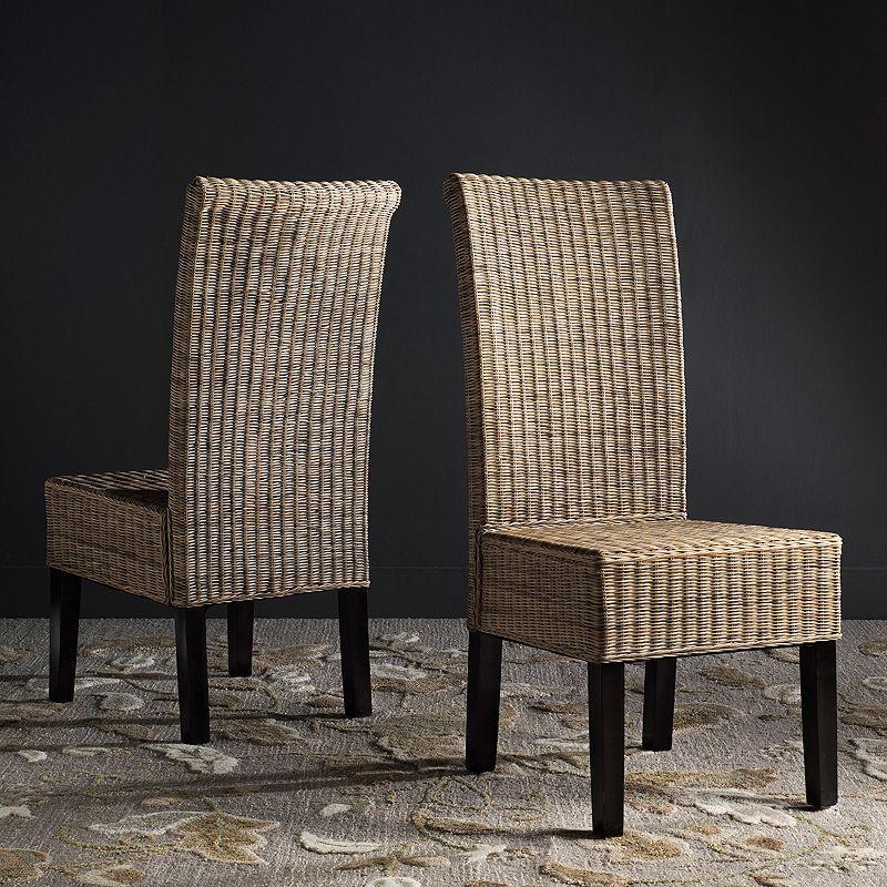 Safavieh Arjun Wicker Dining Chair 2-piece Set, Grey
