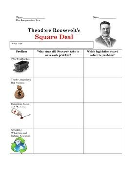 Theodore Roosevelt S Square Deal Graphic Organizer World History