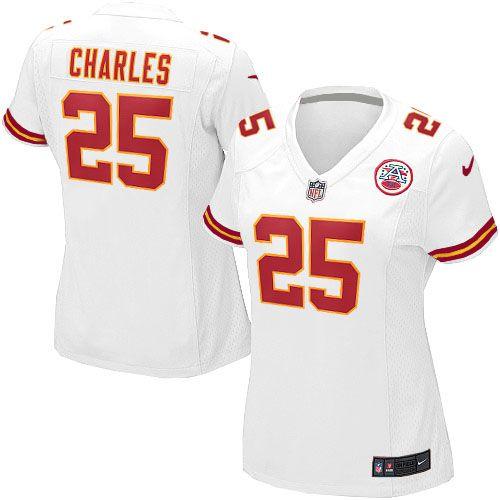 Womens Kansas City Chiefs  25 Jamaal Charles Elite White Jersey 109.99 b9c0a1a23