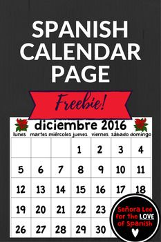 Spanish Calendar  December  Freebie By Senora Lee  For The
