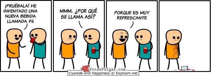 Tira cómica de Cyanide and Happiness en español 2014: Ponerle nombre a una nueva bebida que acaba de ser inventada puede que no resulte nada fácil.