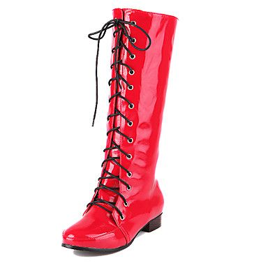 [$34.99] Women's Spring Fall Fashion Boots Patent Leather Casual Dress Flat  Heel Lace-up Black Blue Pink Red White