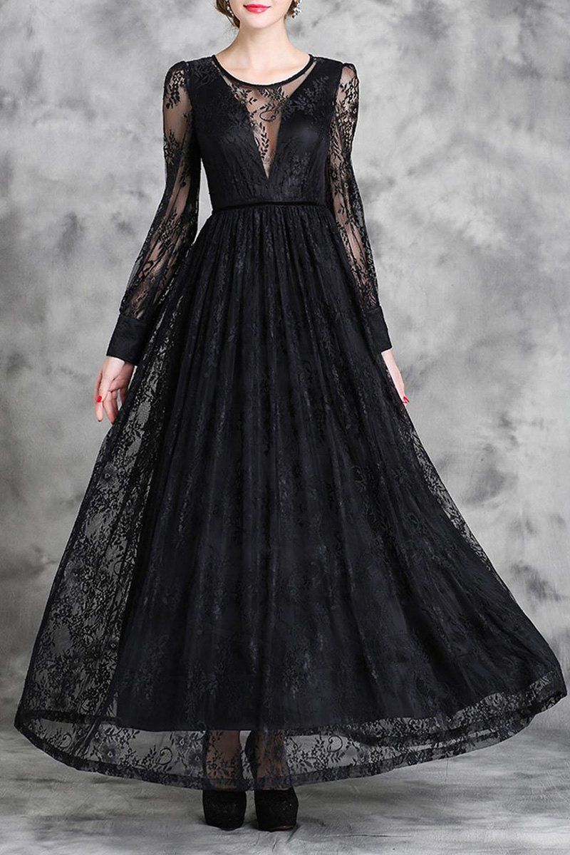 Lace jewel neck long sleeve maxi dress fashion pinterest long