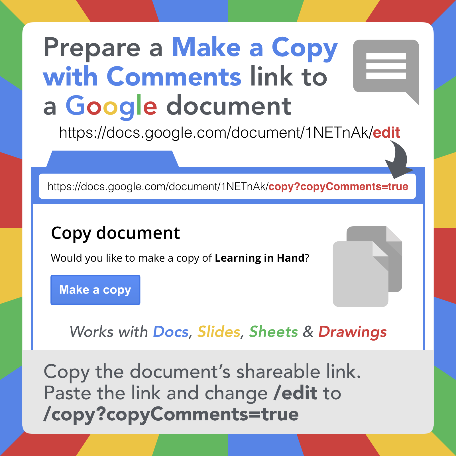 Google Document Url Tricks Learning In Hand With Tony Vincent Google Documents Google Classroom Assignments Documents