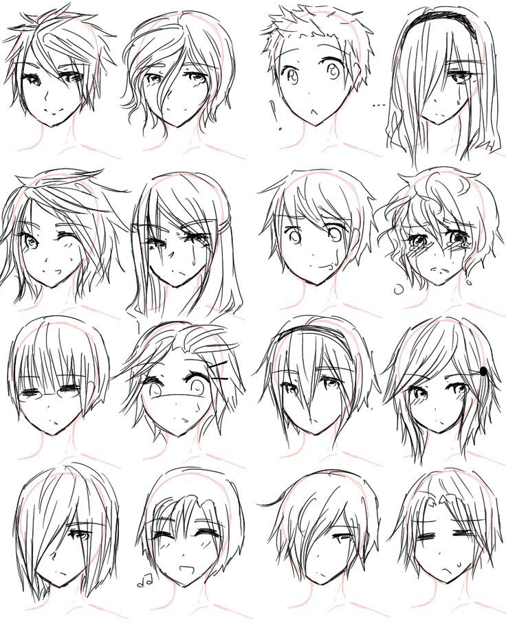 Anime Hairstyles Short : anime, hairstyles, short, Hairstyles, Short, Drawing, Anime, Hair,, Manga