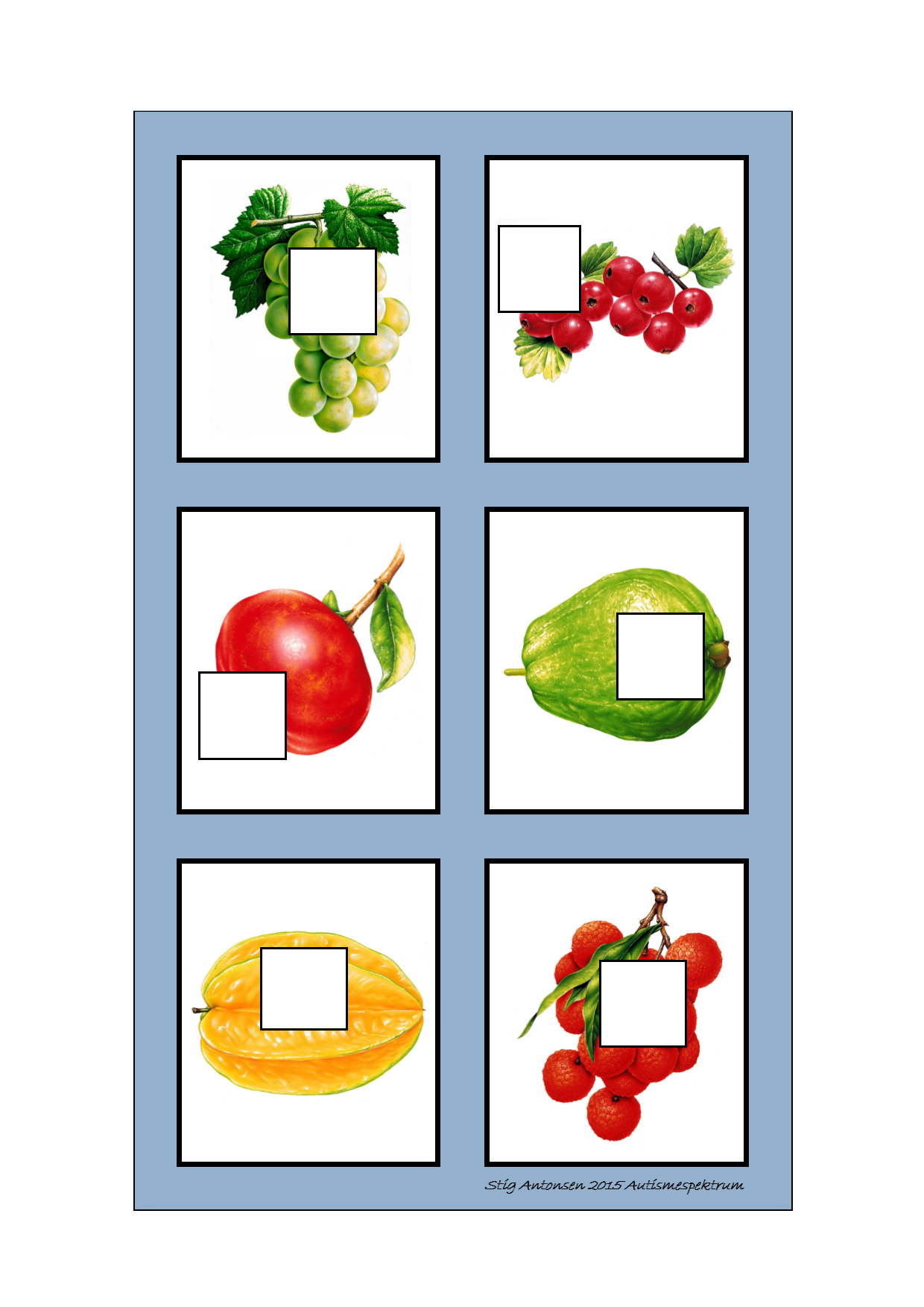 Board for the puzzle game. Find the belonging tiles on Autismespekt ...