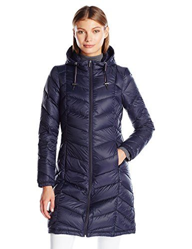 a75a32adff22a Tommy Hilfiger Women s Long Hooded Packable Down Coat with Contrast Detail