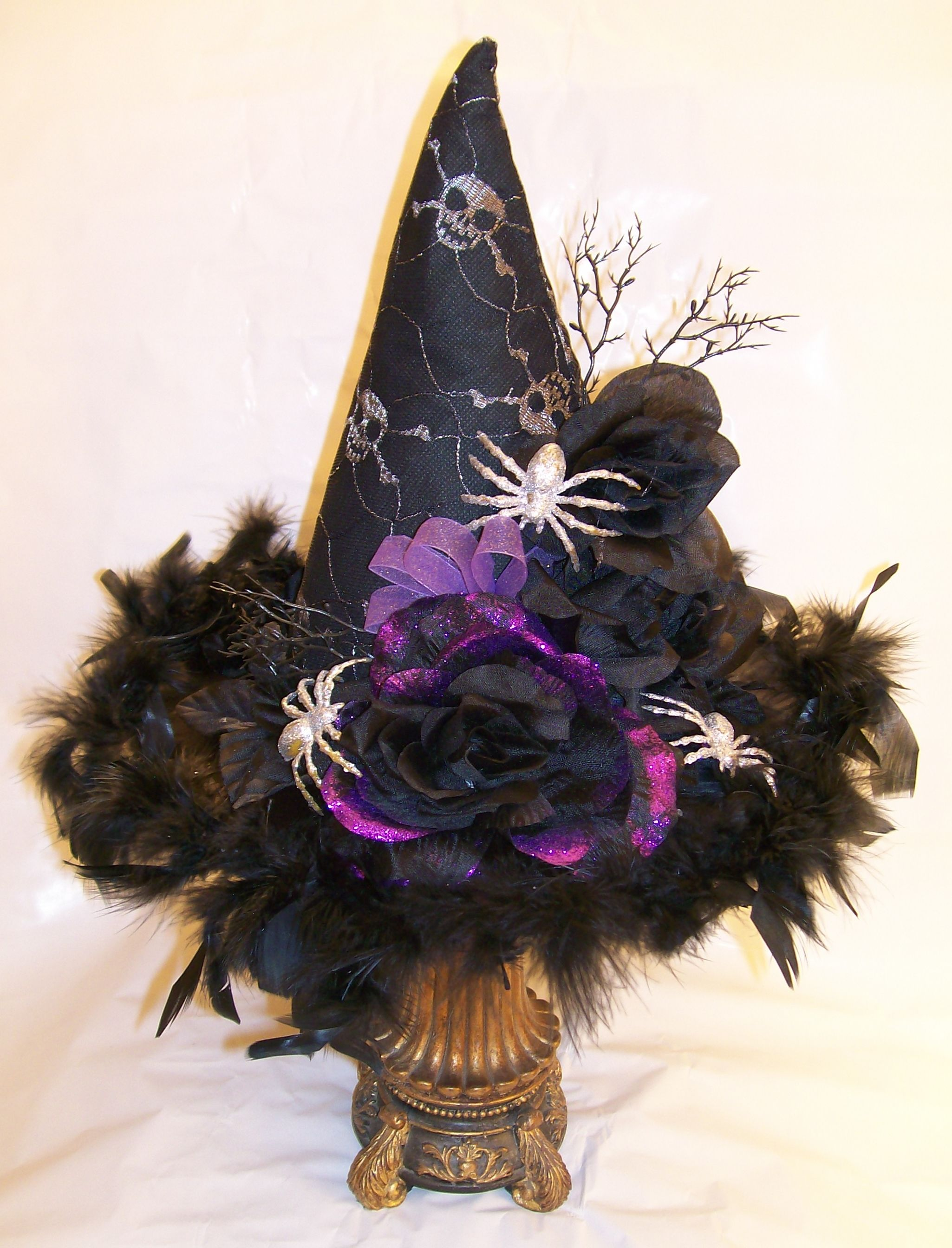 Halloween Witches Hat All Material And Elements Purchased At The Dollar Tree Store 4 00 To Make Halloween Crafts Halloween Diy Witch Hat Diy