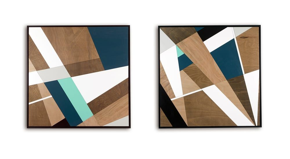 The Chase & The Clash - wooden mosaic wall panels. 98cm x 98cm x 3cm