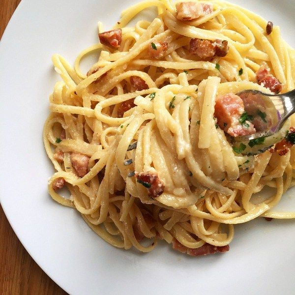 A White Plate Of Bacon Carbonara Recipe This Week Dinner