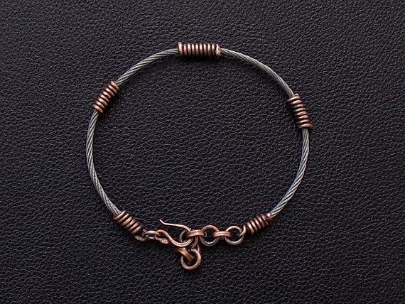 check-out 2543b 1ebed Twisted bracelet homme en acier et cuivre, bracelet homme ...