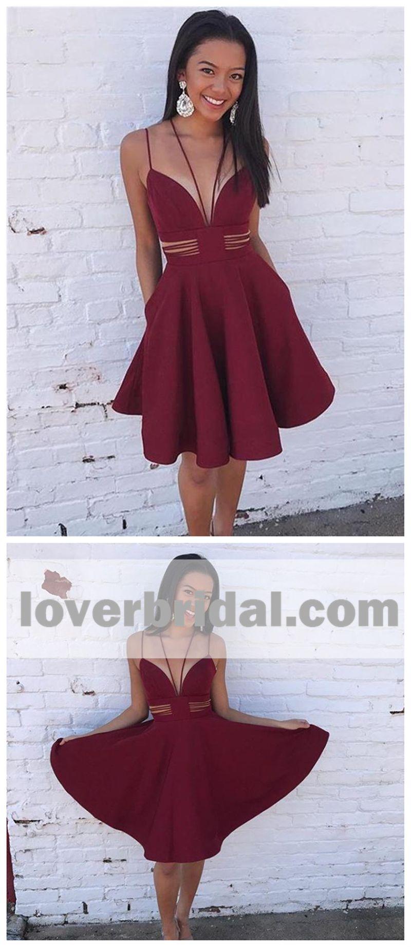 Dark red unique simple cheap short homecoming dresses online cm