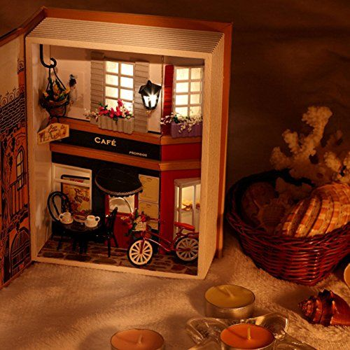Summer Vacation Dairy w// Lights DIY Mini Book Doll House with Furniture