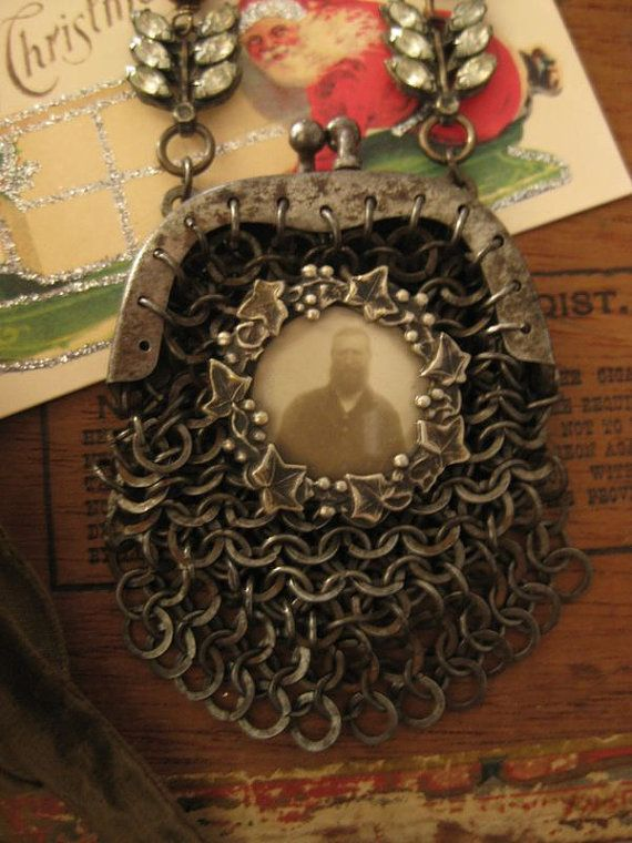 Father Christmas  antique chainmaille purse by RedbirdJewelry, $178.00