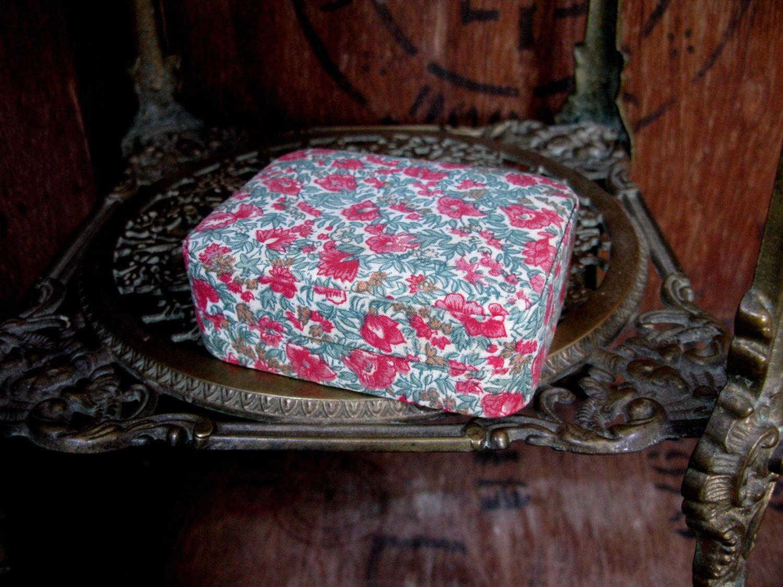 Floral Trinket Box Fabric Box Trinket Box Vintage Box Jewelry