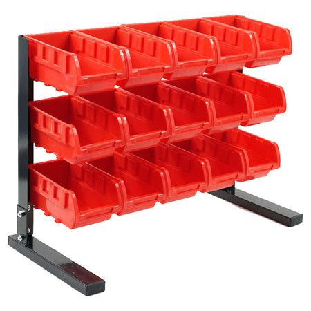 Bench Top Parts Rack With Fifteen Storage Bins.Product: Parts Rack And 15  BinsConstruction Material: Plastic And Metal...   For Willu0027s Lego Desk