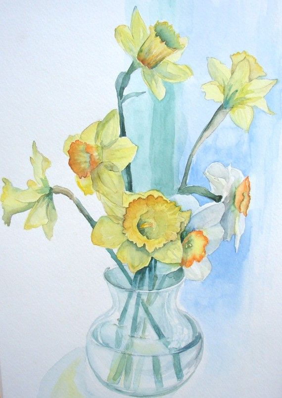 Daffodil Watercolor Print Yellow And Green 9 Quot X 11 Quot For The Home Watercolor Daffodils