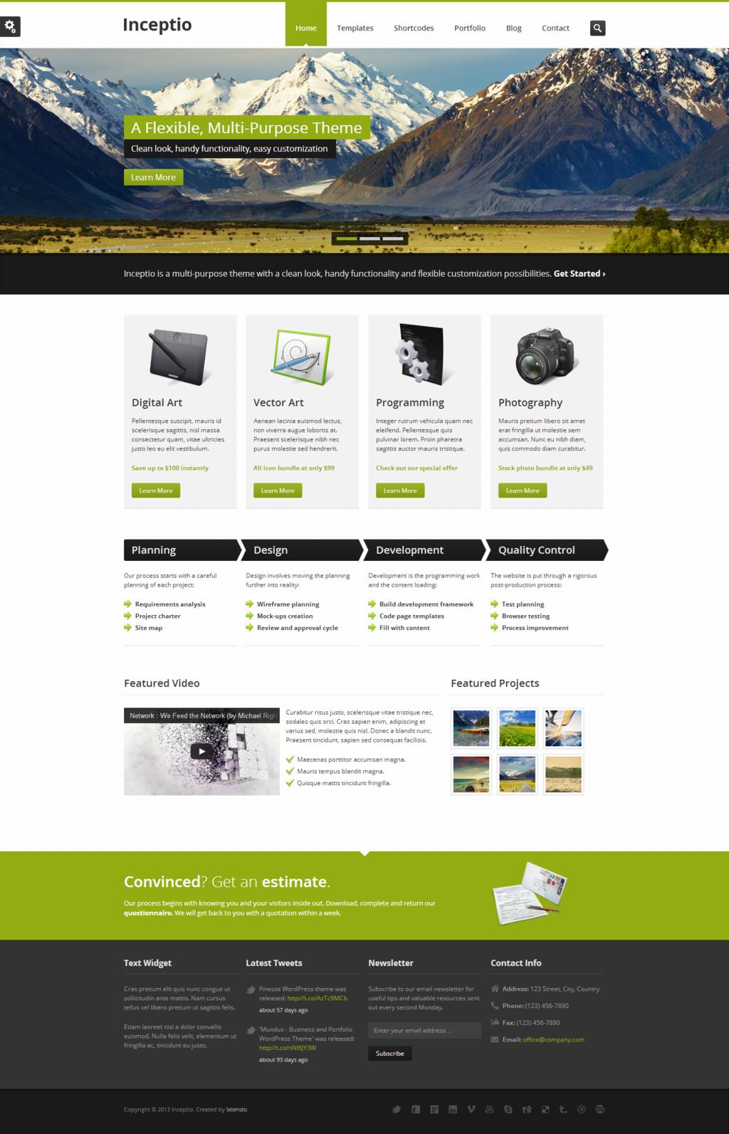Inceptio - Responsive Multi-Purpose HTML Template http://themeforest ...