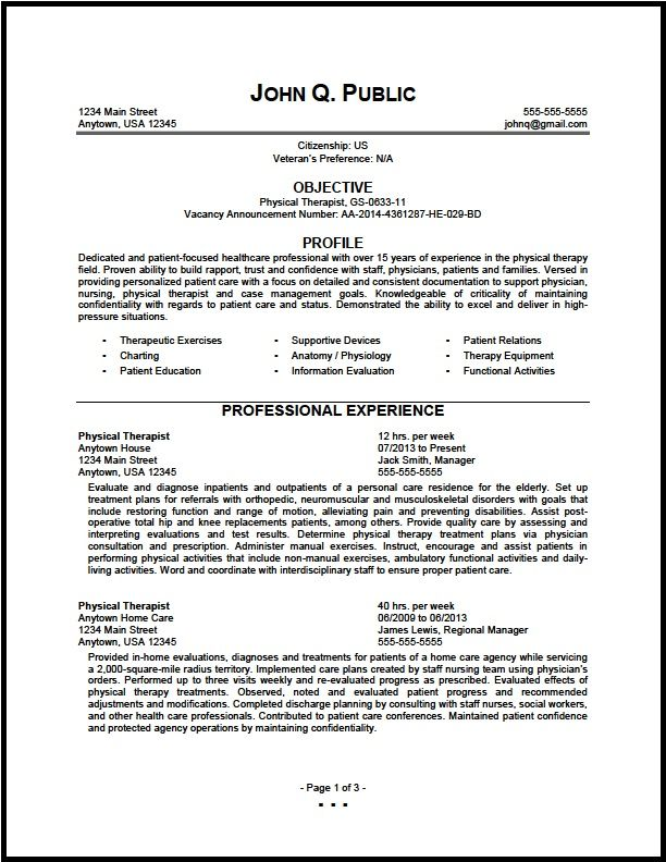 federal physical therapist resume sample the clinic best