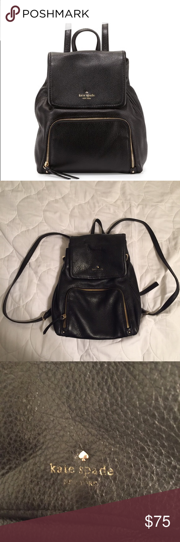 """$348 Kate Spade Cobble Hill Charley leather bag Purchased for $348 from Bloomingdales years ago. Very worn. Kate Spade logo is heavily faded, inside is darkened from wear. Gold metal pieces came loose from the sides, can probably be an easy fix. Please ask for more photos if you want to see a specific part. **NO TRADES** 29"""" adjustable drop length. 10.7"""" h, 9.4"""" w, 5.9"""" d. kate spade Bags Backpacks"""