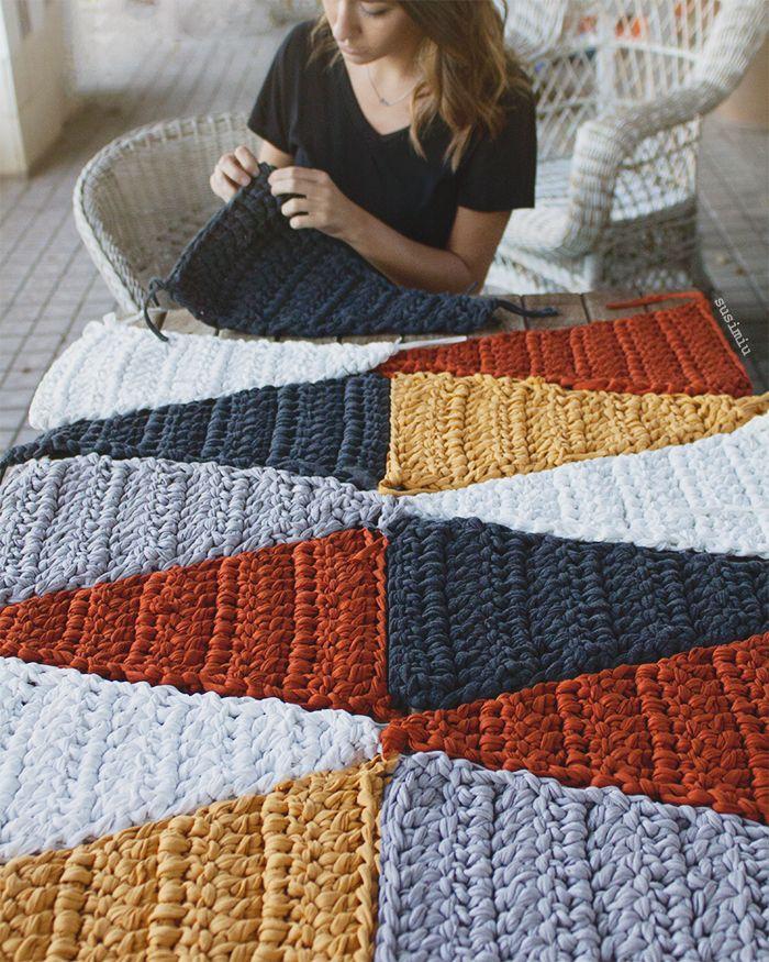 Alfombra modelo hipster trapillo ganchillo ganchillo for Tejidos de alfombras
