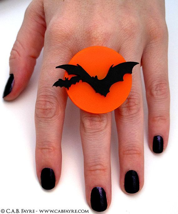 Over the Moon Bat Ring  Adjustable RIng  Acrylic Laser by CABfayre
